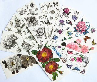 10pcs/package hot selling temporary tattoo stickers various designs including black peony/black flowers and butterflies/black roses/colorful flowers and butterflies/roses/peony/etc. Toys & Games