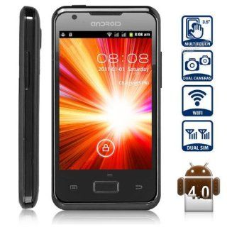 Unlocked Quadband Dual Sim Android 4.0 OS With 3.5 Inch Capacitive Touch Screen GSM Smart Phone   AT&T, T mobile, H20, Simple mobile and other GSM networks (Black) Cell Phones & Accessories