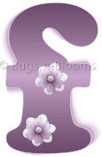 """f"" Purple Daisy Flower Alphabet Letter Name Initial Wall Sticker   Decal Letters for Children's, Nursery & Baby's Room Decor, Baby Name Wall Letters, Girls Bedroom Wall Letter Decorations, Child's Names. Flowers Mural Walls Decal"
