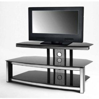 Corner Or Wall TV Stand w Black Glass Shelves & Aluminum Frame for Up To 42 Inch Wide Sets   Television Stands