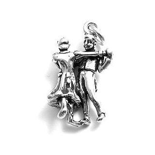 Dance, Couple Ballroom Dancing 3D Sterling Silver Charm Pendant