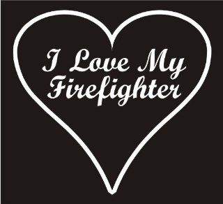 "Firefighter Decals, I Love My Firefighter Heart Decal Sticker Laptop, Notebook, Window, Car, Bumper, EtcStickers 4.3""x4""in. in WHITE Exterior Window Sticker with"