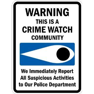 "SmartSign 3M High Intensity Grade Reflective Sign, Legend ""Warning This is a Crime Watch Community"" with Graphic, 24"" high x 18"" wide, Black/Blue on White Industrial Warning Signs"