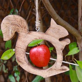 wooden squirrel bird feeder by lisa angel homeware and gifts