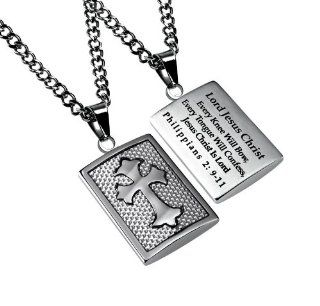 "Christian Mens Stainless Steel Abstinence ""Lord Jesus Christ   Every Knee Will Bow, Every Tongue Will Confess, Jesus Christ Is Lord   Philippians 29 11"" White Graphite Deluxe Cross Necklace for Boys   Guys Purity Necklace   24"" Curb Chain"