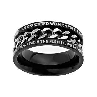"Christian Mens Stainless Steel Abstinence Galatians 220 ""I am Crucified with Christ; It is no Longer I who Live, But Christ Lives in Me; and the Life Which I now Live in the Flesh I Live by Faith in the Son of God who Loved me and Gave Himself for Me"