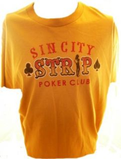Fifth Sun Brand Mens T Shirt   Sin City Strip Poker Club on Yellow (Distressed) (X Small) Clothing