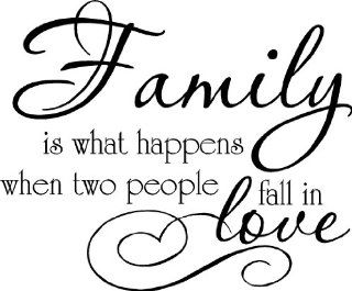 FAMILY IS WHAT HAPPENS WHEN TWO PEOPLE FALL IN LOVE VINYL WALL DECAL HOME DECOR   Wall Decor Stickers