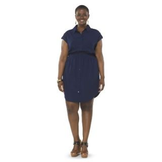 Pure Energy Womens Plus Size Utility Shirt Dress   Navy X