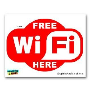Free WiFi Internet Here   RED Store Cafe Sign   Window Bumper Laptop Sticker Automotive
