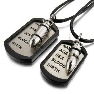 JBlue Jewelry Men, Women's 2PCS Stainless Steel Alloy Rubber Pendant Necklace Silver Black Bullet Dog Tag Army Name Love Valentine's Couples His & Hers Set with Chain (with Gift Bag) Cute Couple Necklace Jewelry