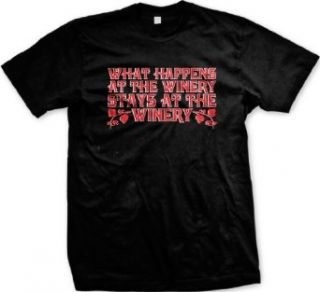 What Happens At The Winery, Stays At The Winery Mens T shirt, Trendy Funny Wine Sayings Men's Tee Shirt Clothing