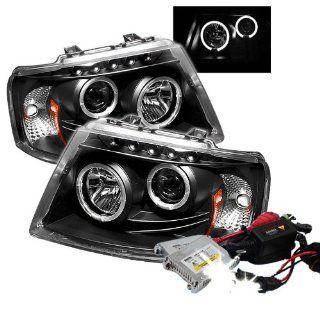 High Performance Xenon HID Ford Expedition Halo LED ( Replaceable LEDs ) Projector Headlights with Premium Ballast   Black with 10000K Deep Blue HID Automotive