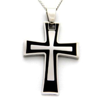 Cross Pendant Mens Necklace   Stainless Steel Mens Necklace   Religious Necklace   Crucifix Cross Pendant Jewelry