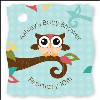 Owl   Look Whooo's Having A Baby   20 Personalized Baby Shower Die Cut Card Stock Tags Toys & Games