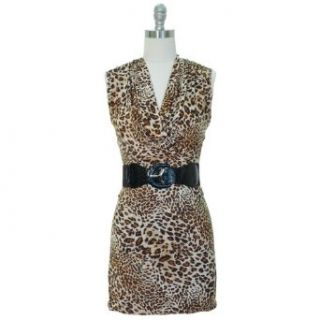 Brown & Tan Leopard Print Belted Dress W/Draped Neckline Size X Large