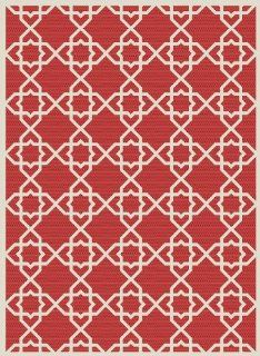 Safavieh Courtyard Collection CY6032 248 7SQ Red and Beige Indoor/Outdoor Square Area Rug, 6 Feet 7 Inch