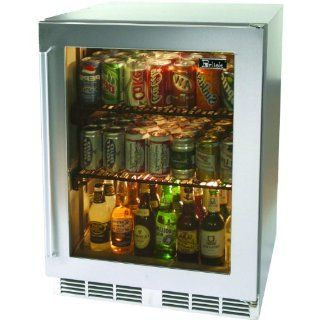 Perlick Hp24ro 4l 5.3 Cu. Ft. Capacity Compact Refrigerator   Custom Overlay Glass Door / Stainless Steel Cabinet Kitchen & Dining