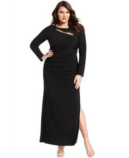 Betsy & Adam Plus Size Dress, Long Sleeve Ruched Cutout Gown   Dresses   Plus Sizes