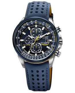 Citizen Mens Eco Drive Blue Angels World Chronograph A T Blue Perforated Leather Strap Watch 43mm AT8020 03L   Watches   Jewelry & Watches