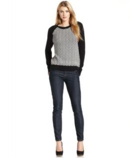 MICHAEL Michael Kors Long Sleeve Colorblock Cable Knit Sweater & Skinny Indigo Wash Jeans   Women