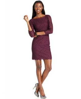 Adrianna Papell Three Quarter Sleeve Lace Sheath   Dresses   Women