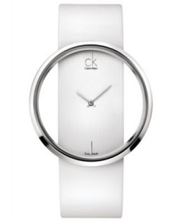 Calvin Klein Watch, Womens Swiss Glam Black Leather Strap 42mm K9423107   Watches   Jewelry & Watches