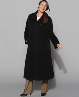 Jones New York Plus Size Coat, Long Alpaca Wool Blend   Coats   Women