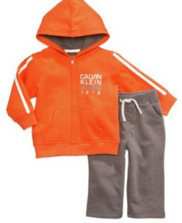 Calvin Klein Baby Set, Baby Boys 2 Piece Fleece Hooded Top and Pants   Kids