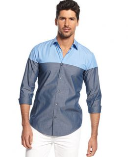 BOSS HUGO BOSS Ronny 33 Colorblocked Slim Fit Shirt   Casual Button Down Shirts   Men