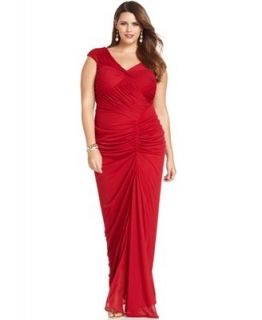 Adrianna Papell Plus Size Dress, Cap Sleeve Ruched Gown   Dresses   Plus Sizes