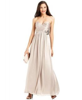 Calvin Klein Dress, Strapless Pleated Gown   Dresses   Women