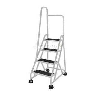 4 Step Aluminum Rolling Ladder   Gray   Stepladders