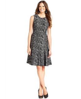 Anne Klein Dress, Sleeveless Contrast Lace A Line   Dresses   Women