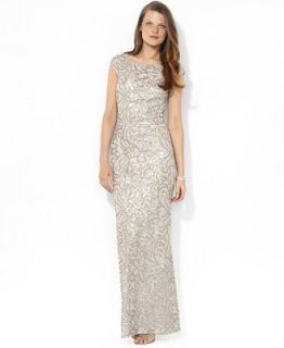Lauren Ralph Lauren Dress, Cap Sleeve Sequin Gown   Dresses   Women