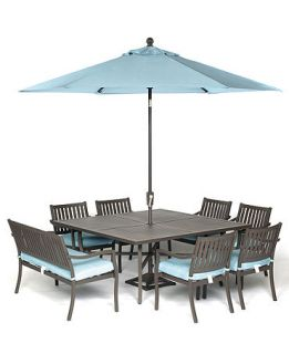 Holden Outdoor Patio Furniture, 8 Piece Set (64 Square Dining Table, 6 Dining Chairs and 1 Bench)   Furniture