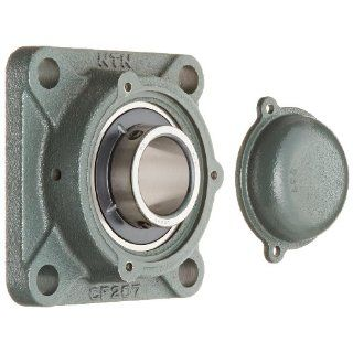 "NTN CM UCF207D1 Light Duty Flange Bearing, 4 Bolts, Setscrew Lock, Regreasable, Contact and Flinger Seals, Cast Iron, 35mm Bore, 3 5/8"" Bolt Hole Spacing Width, 4 19/32"" Height Flange Block Bearings"