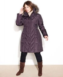 London Fog Plus Size Hooded Faux Fur Trim Quilted Puffer Coat   Coats   Women