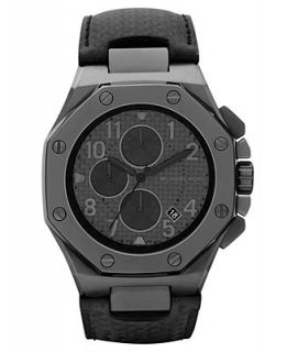 Michael Kors Mens Chronograph Black Leather Strap Watch 45mm MK8224   Watches   Jewelry & Watches