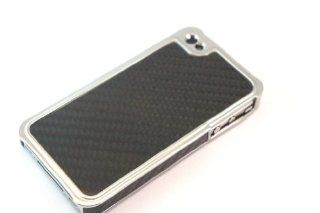 Black Real Carbon Fiber Case/Cover For iPhone 4 4S Back Cover And Three Screen Protector Cell Phones & Accessories