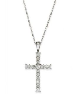 TruMiracle� Diamond Necklace, 10k White Gold Diamond Cross Pendant (1/4 ct. t.w.)   Necklaces   Jewelry & Watches