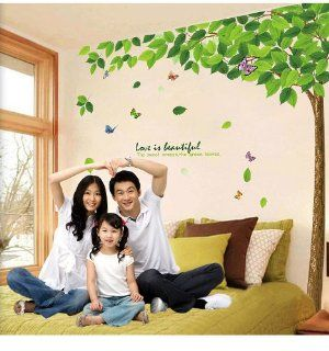 UfingoDecor Green Garden Series Large Tree and Butterflies Wall Decals, Living Room Bedroom Removable Wall Stickers Murals   Wall Decor Stickers