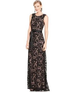 Adrianna Papell Petite Dress, Sleeveless Lace Gown   Dresses   Women