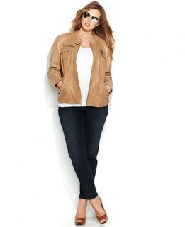 MICHAEL Michael Kors Plus Size Leather Moto Jacket   Jackets & Blazers   Women