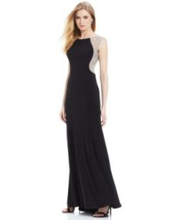JS Collections Dress, Cap Sleeve Open Back Evening Gown   Dresses   Women