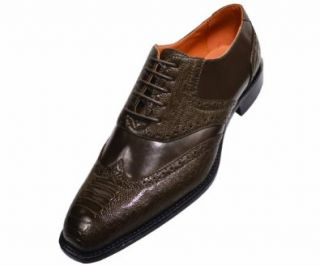 Bolano Mens Olive Classic Wing Tip Dress Shoe With Exotic Ostrich Leg Print Style Rodric Olive 195 Oxfords Shoes Shoes