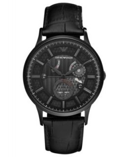 Emporio Armani Watch, Mens Chronograph Black Leather Strap 46mm AR2461   Watches   Jewelry & Watches
