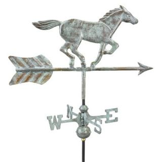 Good Directions Horse Garden Weathervane   Blue Verde Copper w/Garden Pole