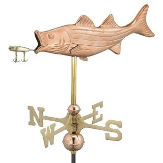 Good Directions Bass with Lure Garden Weathervane   Polished Copper w/Roof Mount