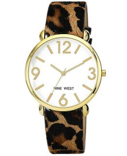Nine West Watch, Womens Leopard Print Strap 40mm NW 1510SVLE   Watches   Jewelry & Watches